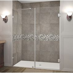 Aston Nautis GS Completely Frameless Hinged Shower Door with Glass Shelves in Stainless Steel features hinged swinging glass door panel for durability. Frameless Shower Doors, Glass Shower Doors, Glass Doors, Bathtub Doors, Shower Enclosure, Glass Shelves, Wall Shelves, 3 D, Home Decor