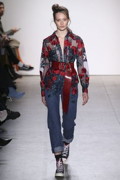 Adam Selman. Shirt and casual jeans with red floral embroidery.