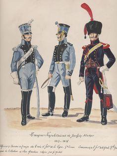 Troupes Napolitaines de Joachim Murat, roi de Naples 1813-1814 Officier et Homme de troupe du train d'artillerie de ligne, grande tenue Cannonier de de la guarde