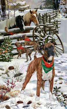 Boxer (brindle) - Welcoming Committee - by Margaret Sweeney Boxer And Baby, Boxer Love, Christmas Animals, Christmas Dog, Boxer Puppies, Dogs And Puppies, Boxers, Animals Beautiful, Cute Animals