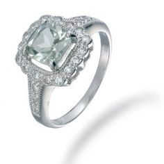 7MM Cushion Cut Green Amethyst Ring In Sterling Silver 1.50 CT (Available In Sizes 5 - 9) Review