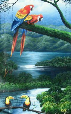 Tropical Art, Tropical Birds, Exotic Birds, Oil Painting On Canvas, Canvas Wall Art, Paradis Tropical, Bird Artwork, Wildlife Art, Wall Art Designs