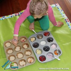 """muffin tin pancakes, using different """"add-ins"""".  bake @325 for 8-10 minutes"""