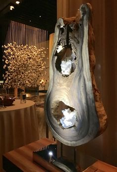 Nature Spine - Organic, Acacia Wood, White Quartz Crystal Sculpture with a Stainless Steel Base and Lights by Fine Artist Dorit Schwartz - Las Vegas