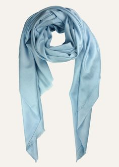 Woven from the finest Himalayan cashmere this powder blue Imperial Shawl by Ezma rivals the legendary touche as a wonderfully ethical alternative. Delightfully soft, super warm, & luxurious. 100% cashmere.