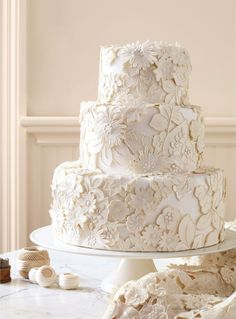 lace detail cake- so pretty, maybe with burlap as a ribbon on each tier?