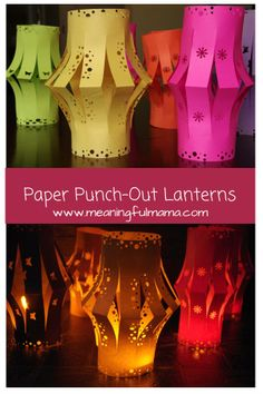 Embroidery On Paper paper punch-out lanterns - could be a fun camping project for a calm summer night. Make sure to use a flameless candle! - Here are directions on how to make a paper punch-out lantern. Summer Crafts, Summer Fun, Fun Crafts, Light Crafts, Fest Des Fastenbrechens, Lantern Crafts, Ramadan Crafts, Camping Theme, Camping Snacks