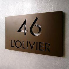 CUSTOM Modern Deluxe Floating Address Sign in Aluminum