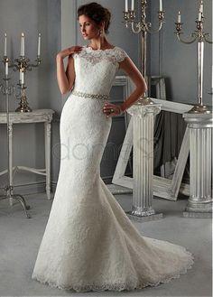 Gekappte Ärmel Etui Satin Spitze Meerjungfrau sittsames volle länge Brautkleider