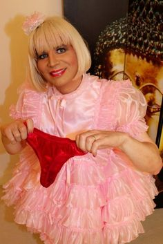 Sissy Maid under Maid Sissification Hypnosis being hypnotized by red satin panties