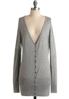 Super comfy cozy long line grey cardigan with long sleeves and deep v-neck