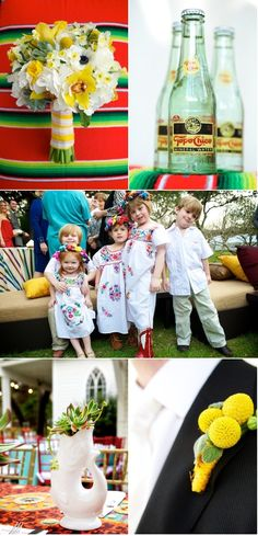 Mexican inspired wedding [Colors + Mexican embroidered dresses for the flower girls. Mexican Party, Mexican Style, Mexican Heritage, Mexican Embroidered Dress, Embroidered Dresses, Mexican Themed Weddings, Our Wedding, Dream Wedding, Fiesta Party
