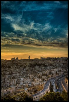 A cityscape view of Jerusalem at sunset. Jerusalem, a Middle Eastern city west of the Dead Sea, has been a place of pilgrimage and worship for Jews, Christians and Muslims since the biblical era. Its Old City has significant religious sites around the Temple Mount compound, including the Western Wall (sacred to Judaism), the Church of the Holy Sepulchre (a Christian pilgrimage site) and the Dome of the Rock (a 7th-century Islamic shrine with a gold dome). (V)