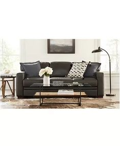 Furniture Avenell Leather Sectional and Sofa Collection, Created for Macy's & Reviews - Furniture - Macy's Leather Couch Sectional, Modular Sectional Sofa, Sectional Sleeper Sofa, Living Room Sectional, Leather Sofa, Sofas, Chesterfield Sofa, Full Sleeper Sofa, Comfortable Sofa