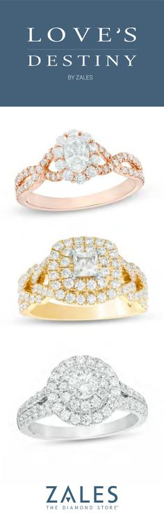 Find gorgeous engagement rings with the Loves Destiny Collection at Zales. Elegant Engagement Rings, Diamond Engagement Rings, Love Destiny, Off Shoulder Wedding Dress, Dream Wedding, Wedding Day, Diamond Stores, Vintage Bridal, Gifts For Wife