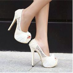 White lace wedding high heels - My wedding ideas