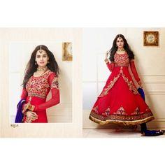 Pink Embroidered Faux Georgette Designer Anarkali Salwar Kameez  - Online Shopping for Salwar Suit by ODFASHION
