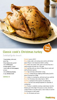 You've probably noticed that we're gearing up for a massive #Christmas #feast and we're hoping you'll join in the fun! Here's a delicious roast #turkey recipe fit for a king! #picknpay #dailydish #xmas #roast  #picknpay