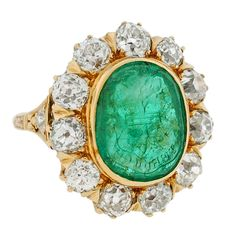 Victorian Diamond & Emerald Family Crest Gold Intaglio Ring 3.95 | From a unique collection of vintage signet rings at https://www.1stdibs.com/jewelry/rings/signet-rings/