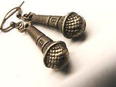 My girls love singing so these would be perfect!  Karaoke Queen Earrings Mic Earrings Karaoke Mic by hookandline, $5.99