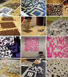 """Manning and Lin created the analog QR codes by printing or projecting the image of the code onto their work surface, then placing the """"pixels"""" in the appropriate places. They then made the images into posters and stickers and hung them up around New York City.    Love it would try mine once!"""
