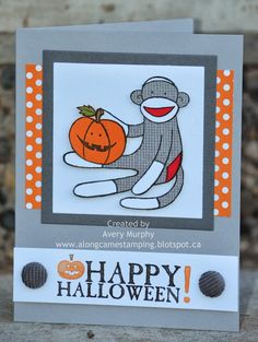 Stampset: Seasonal Sayings, Sock Monkey (Retired), Canvas Background (Retired) Paper: Smoky Slate, Basic Grey, Whisper White, Pumpkin Pie, Old Olive, Baked Brown Sugar, Real Red, Polka Dot Parade DSP Ink: Smoky Slate, Black Staz on Markers: Basic Black, Pumpkin Pie, Baked Brown Sugar Bigshot: Magnetic Platform, Squared Collection Framelits Tools: Paper Snips Accessories: Basic Grey Corduroy Buttons (Retired)