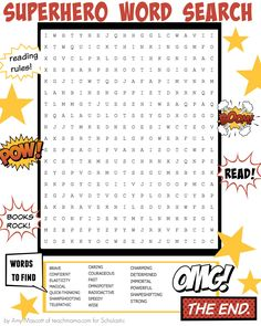 Bam! Pow! This Superhero Word Search builds an epic vocabulary. http://www.scholastic.com/parents/blogs/scholastic-parents-raise-reader/superhero-summer-reading-word-search?eml=PAR/smd/20160530/pinterest/RARsuperherosummerreadingwordsearch/PAR/content/9am