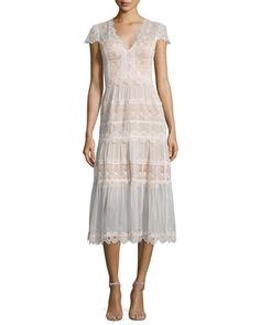 Short-Sleeve+Tiered+Lace+A-Line+Cocktail+Dress++by+Catherine+Deane+at+Bergdorf+Goodman.