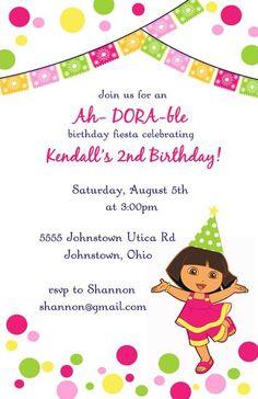 Dora Dots birthday invitations-dora, dora the explorer, polka dots, nickelodeon