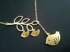 Family Bird on the branch Lariat Necklace, Bird Pendant Necklace, branch Charm Necklace GOLD OR SILVER. $25.50, via Etsy. @Maria St John