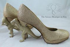 Custom Glitter Dinosaur Heels by TheScienceBoutique on Etsy, $190.00