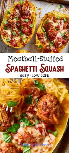 Easy Meatball-Stuffed Spaghetti Squash ( Low-Carb ) - A delicious low-carb spin on spaghetti and meatballs featuring roasted spaghetti squash. Healthy Low Carb Dinners, Best Low Carb Recipes, Low Carb Dinner Recipes, Low Carb Diet, Cooking Recipes, Healthy Recipes, Diet Recipes, Spaghetti Squash And Meatballs, Spaghetti Squash Spaghetti