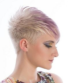 A Short Blonde straight coloured multi-tonal spikey white womens haircut hairstyle by Syran John Hairdressing