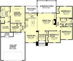 2000 sq ft - One of the best small floor plans I've seen House Plans One Story, New House Plans, Dream House Plans, House Floor Plans, My Dream Home, European Plan, European House, European Style, The Plan