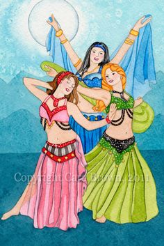 3 of Cups by Cara Brown | Belly Dancer painting in watercolor Tarot Card Art