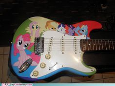 One of my stratocasters might end up like this... ;) I'm on the hunt of MLP stickers, Somepony tell where to find them!