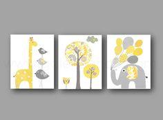 Lot de 3 illustrations 18x24 cm pour chambre d'enfant et bebe, gris, jaune