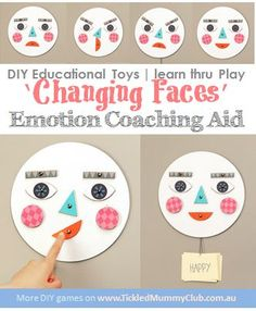 [DIY Educational Toys | learn thru Play] 'Changing Faces' Emotion Coaching Aid helps your kids use words to describe what they feel. Not only is it a great opportunity for intimacy and teaching, it improves children's behaviour, too. Click to see tutorial #DIYEducationalToys #learnthruPlay #TickledMummyClub #EmotionCoaching
