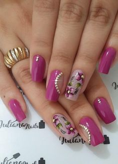 Best Acrylic Nails, Acrylic Nail Art, Acrylic Nail Designs, Nail Art Designs, Rose Nails, Gel Nails, Manicure, Pink Nail Art, Purple Nails
