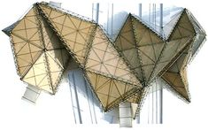 modular folded lattice structure station design by RAW architecture Triangular Architecture, Folding Architecture, Concept Architecture, Futuristic Architecture, Architecture Details, Architecture Models, Zaha Hadid, Folding Structure, Arch Model