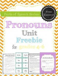Freebie. It includes the first lesson of the unit, including a game, practice page (with answer key) and posters with the definitions of pronoun and antecedent. Download it to get a taste of what all of the units in the parts of speech series are like.