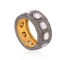 Bague or jaune 18 cts, argent massif et diamant.