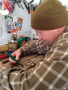 Talented, wonderful, handsome hubby wood burning the design on my old sled. Sled, Porch Decorating, Wood Burning, Burns, Handsome, Hot, Design, Lead Sled, Balcony Decoration