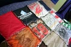 T-shirt quilt tutorial. Uses the front AND back of the T's. This method also uses flannel (can be from an old flannel sheet) in place of batting. No stiff interfacing either. LOVE the frayed seams! Can't wait to try one!