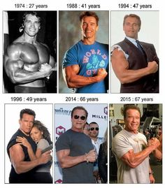Arnold Schwarzenegger and his muscles Arnold Schwarzenegger, from 1974 to Even at 67 he still got amazing muscular body. Boxe Fitness, Star Hollywood, Arnold Schwarzenegger Bodybuilding, Fitness Motivation, Fitness Diet, Lifting Motivation, Health Fitness, Gym Workouts, Weight Training Workouts