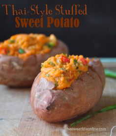 HOME ABOUT ME  RECIPES  FRIDAY'S FAVE FIVE THE EBOOK VEGAN LIVING  CONTACT ME Thai-Style Stuffed Sweet Potatoes