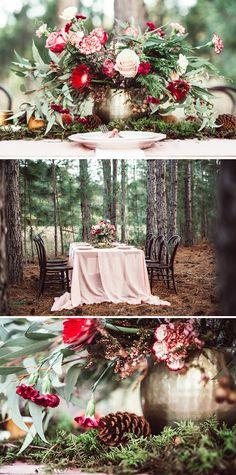 Woodland wedding reception centrepiece with pink and red flowers in a brass vessel, moss table runner and pine cones | Twig + Fawn Photography
