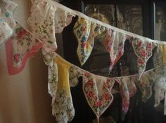 upcycled Vintage hankies (I've seen this done with doilies too and it is just as festive and charming)