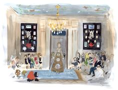 "The Valentino Show . ""The most beautiful show of the Paris couture shows was held at the Hôtel Salomon de Rothschild, which was made to look like a cabinet of curiosities. This was the square room, a very beautiful room. The clothes were marvelous."""