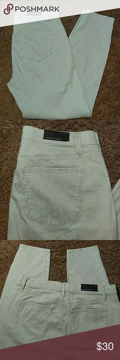 """NWT ANN TAYLOR MODERN FIT SKINNY ANKLE JEANS-10'S -Brand New with Tags -Ann Taylor Modern Fit Skinny Ankle Jeans -Size 10 -Light blue and White pinstripes -5 Pockets -Very Nice Looking -74% Cotton, 22% Lyocell, 4% Spandex -Waist measures 17"""", laying flat -Inseam measures 28"""", in length Ann Taylor Jeans"""